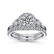 Noelle 14k White Gold Round 3 Stones Halo Engagement Ring angle 4