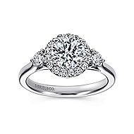 Noelle 14k White Gold Round 3 Stones Halo Engagement Ring angle 5