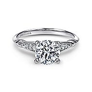 Nora 14k White Gold Round Straight Engagement Ring angle 1