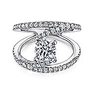 Nova 14k White Gold Round Split Shank Engagement Ring angle 1