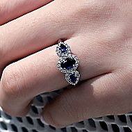 Nuria 14k White Gold Oval 3 Stones Halo Engagement Ring