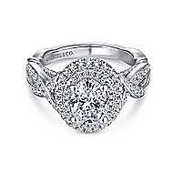 Odessa 14k White Gold Oval Double Halo Engagement Ring angle 1