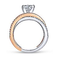 Ophelia 18k White And Rose Gold Round Split Shank Engagement Ring angle 2