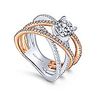Ophelia 18k White And Rose Gold Round Split Shank Engagement Ring angle 3