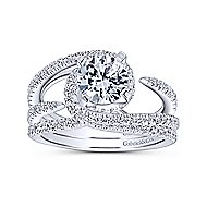 Orion 14k White Gold Round Split Shank Engagement Ring angle 4