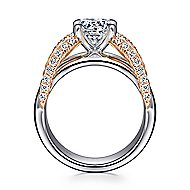 Orleans 14k White And Rose Gold Round Split Shank Engagement Ring