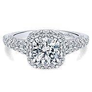 Osaka 14k White Gold Round Halo Engagement Ring angle 1