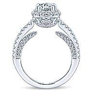 Osaka 14k White Gold Round Halo Engagement Ring angle 2
