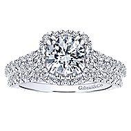 Osaka 14k White Gold Round Halo Engagement Ring angle 4
