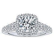 Osaka 14k White Gold Round Halo Engagement Ring angle 5