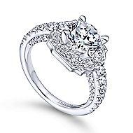 Otis 18k White Gold Round Halo Engagement Ring