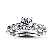Oyin 14k White Gold Round Straight Engagement Ring angle 4