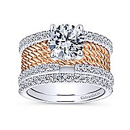 Paradise 18k White And Rose Gold Round Straight Engagement Ring angle 4