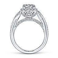 Paris 14k White Gold Round Halo Engagement Ring angle 2