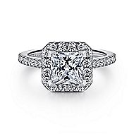 Patience 14k White Gold Princess Cut Halo Engagement Ring angle 1
