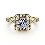 Patience 14k Yellow Gold Princess Cut Halo Engagement Ring angle 1