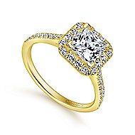Patience 14k Yellow Gold Princess Cut Halo Engagement Ring angle 3