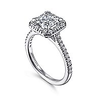 Patience Platinum Princess Cut Halo Engagement Ring angle 3