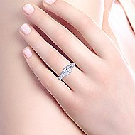 Patricia 14k White And Rose Gold Round Split Shank Engagement Ring angle 6