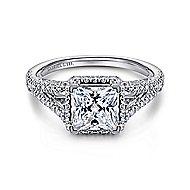 Paula 18k White Gold Princess Cut Halo Engagement Ring