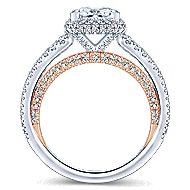 Paulina 18k White And Rose Gold Princess Cut Halo Engagement Ring