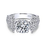 Pauline 18k White Gold Round Straight Engagement Ring angle 1