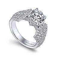 Pauline 18k White Gold Round Straight Engagement Ring angle 3