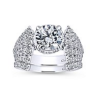 Pauline 18k White Gold Round Straight Engagement Ring angle 4