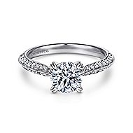 Peace 18k White Gold Round Straight Engagement Ring angle 1