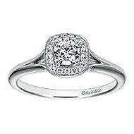 Peak 14k White Gold Round Halo Engagement Ring angle 5