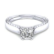 Penelope 14k White Gold Cushion Cut Solitaire Engagement Ring angle 1
