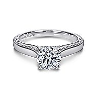 Penelope 14k White Gold Round Solitaire Engagement Ring angle 1