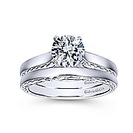 Penelope 14k White Gold Round Solitaire Engagement Ring angle 4