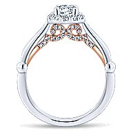 Penny 14k White And Rose Gold Round Halo Engagement Ring angle 2