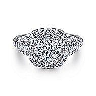 Peony 14k White Gold Round Double Halo Engagement Ring angle 1