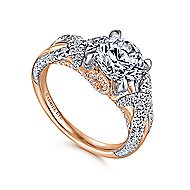 Peppa 18k White And Rose Gold Round Twisted Engagement Ring