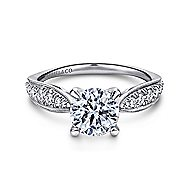 Peregrine 18k White Gold Round Straight Engagement Ring angle 1