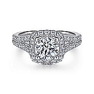 Perennial 14k White Gold Round Halo Engagement Ring angle 1