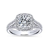 Perennial 14k White Gold Round Halo Engagement Ring angle 5