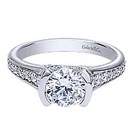 Petra 14k White Gold Round Straight Engagement Ring angle 1