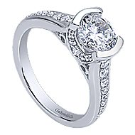 Petra 14k White Gold Round Straight Engagement Ring angle 3