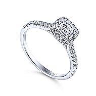 Petunia 14k White Gold Princess Cut Halo Engagement Ring