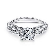 Peyton 14k White Gold Princess Cut Twisted Engagement Ring angle 1