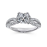 Peyton 14k White Gold Princess Cut Twisted Engagement Ring angle 5