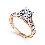 Piper 14k White And Rose Gold Round Straight Engagement Ring angle 3