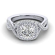 Pippa 14k White Gold Cushion Cut Double Halo Engagement Ring
