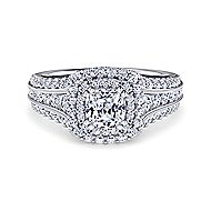 Platinum Cushion Cut Double Halo Engagement Ring angle 1