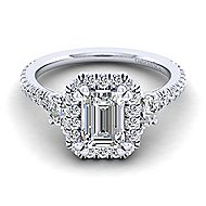 Platinum Emerald Cut Halo Engagement Ring angle 1
