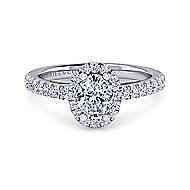 Platinum Oval Halo Engagement Ring angle 1