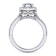 Platinum Pear Shape Halo Engagement Ring angle 2